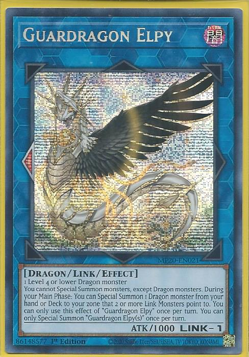 Yugioh Guardragon Elpy Prismatic Secret Rare MP20 1st Ed Near Mint